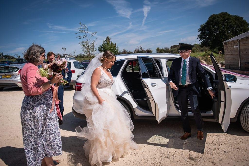 symondsbury estate wedding dorset bride arrival