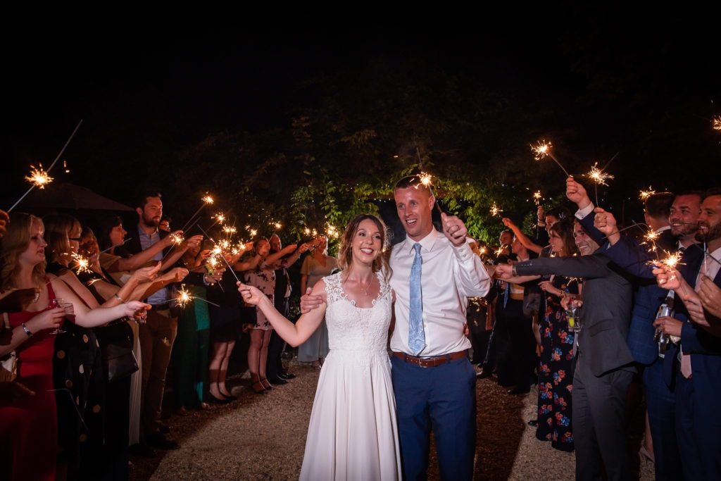 evening sparklers at wedding